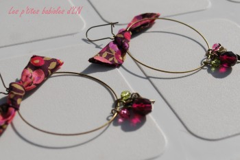 bo and girls show,boucles d'oreilles,bo,creoles,biais,liberty,perles