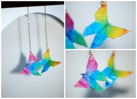 BO, boucle d'oreille, BO and GIRLS SHOW, arc en ciel, rainbow, origami, papillon